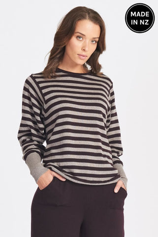 Funky Sleeve Stripe Jumper Womens