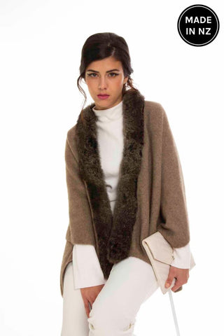 Fur Trim Split Wrap Womens