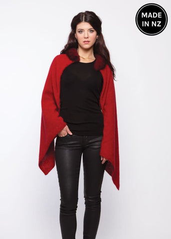Fur Trim Zip Poncho Womens