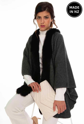 Fur Trimmed Cape Womens