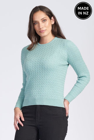 Long Sleeve Rib And Cable Crew Womens