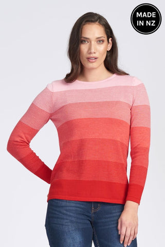 Long Sleeve Wide Neck Graduated Stripe Jumper Womens