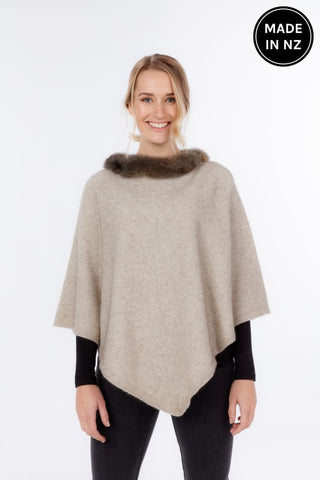 Pure Possum Trimmed Poncho Womens