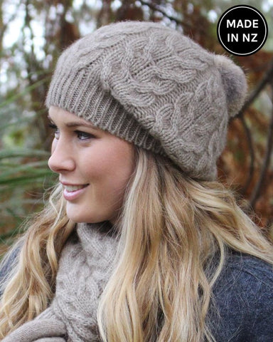 Relaxed Cable Beanie With Rabbit Fur Pompom Accessories