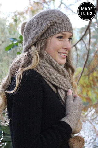 Relaxed Cable Scarf With Rabbit Fur Pompom Accessories