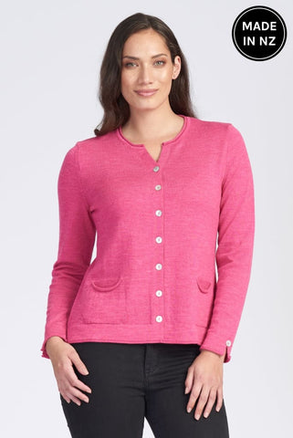 Shell Button Pocket Cardigan Womens
