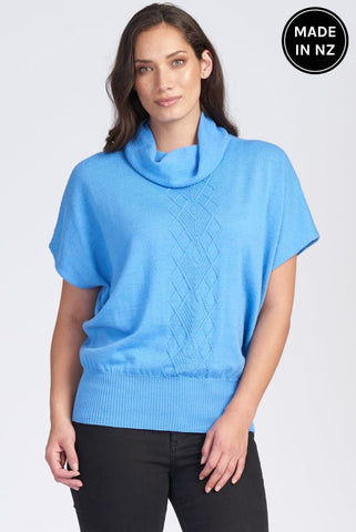 Short Sleeve Arran Front Cowl Neck Top Womens
