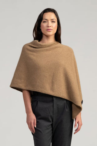 Two Tone Poncho One Size / Camel/jet Womens