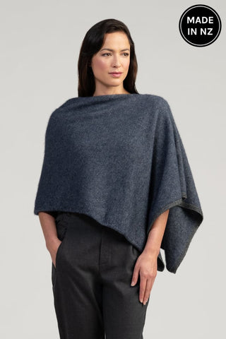 Two Tone Poncho Womens