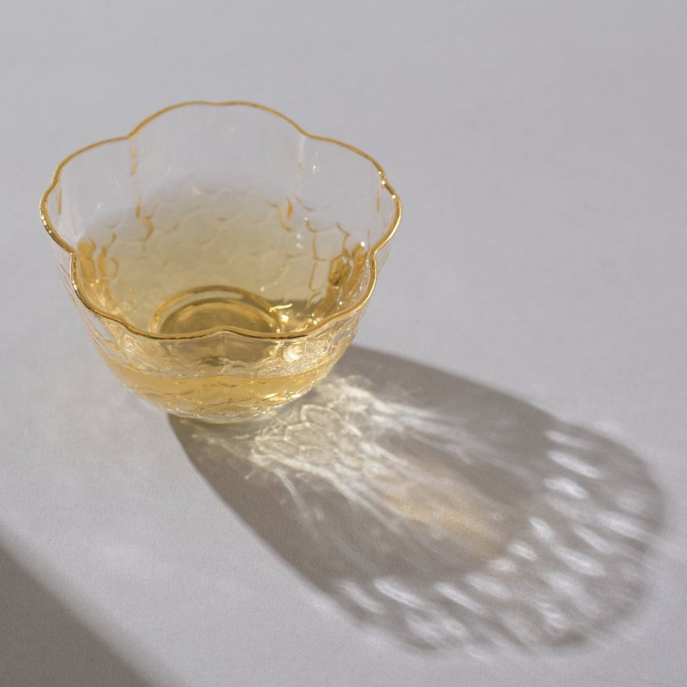 Flower Glass with Gold Trim