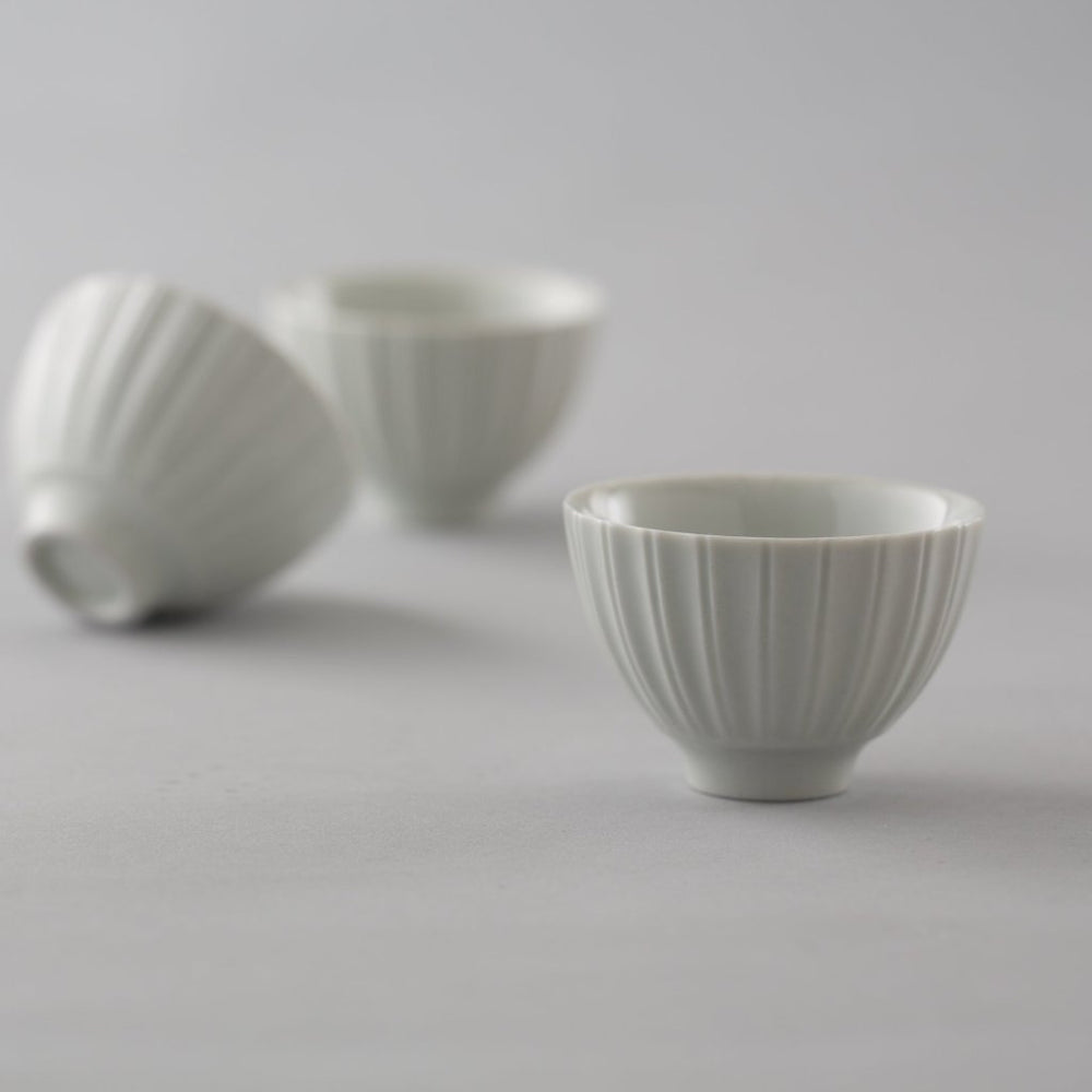 White Ceramic Cups: Chrysanthemum