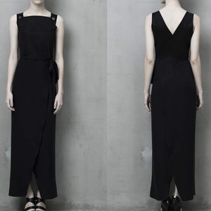 TNS-326 Long black dress suede and silk