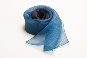 Winding Blue Stripe Silk Scarf L