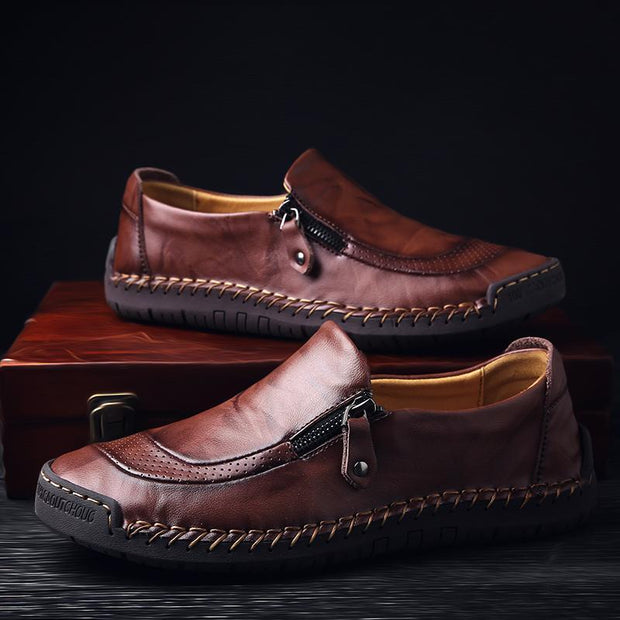 Men Hand Stitching Zipper Slip-ons Leather Loafers