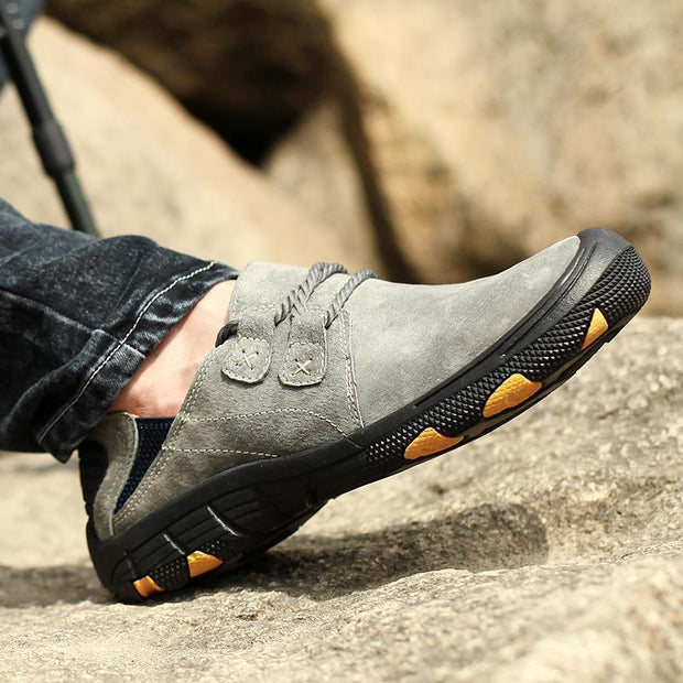 Men Pigskin Leather Slip-resistant Outdoor Casual Hiking Shoes