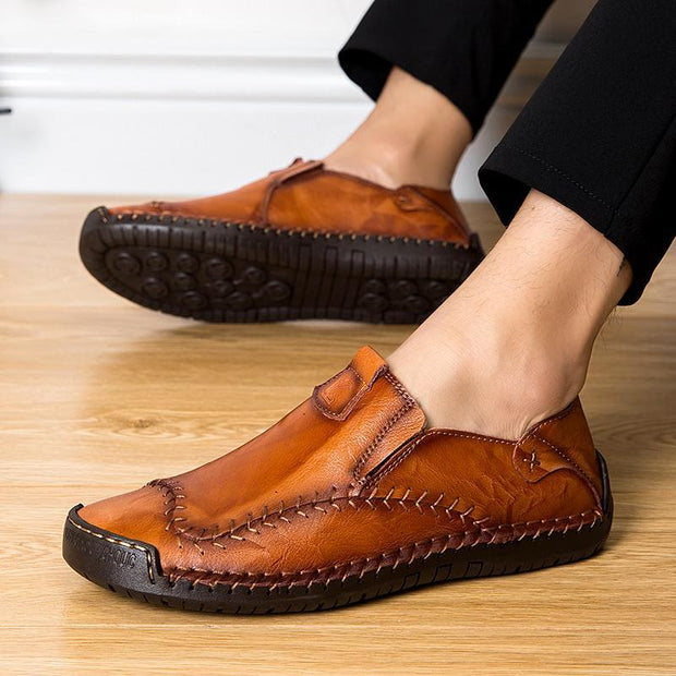 Large Size Men Hand Stitching Non-slip Soft Sole Casual Leather Shoes
