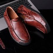 Men Large Size Hand Stitching Soft Slip On Casual Leather Shoes
