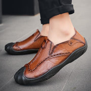 Men's Manual Suture Hand Grasp Grain Leather Recreational Leather Shoes