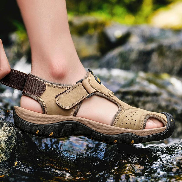 Men's Summer Breathable Leather Casual Outdoor Beach Sandals