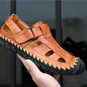 sandals men's leather hand-sewn casual shoes breathable casual