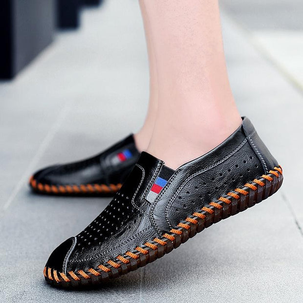 Men Leather Hollow Sandals Comfortable Loafers