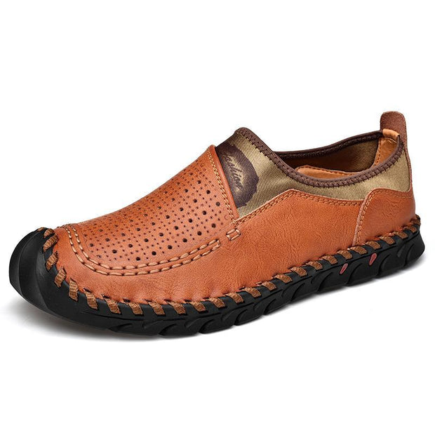 Men's new hollow handmade leather casual shoes
