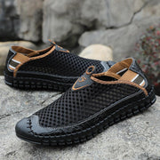 Men's summer cool leather shoes men's shoes casual breathable hollow sandals casual shoes