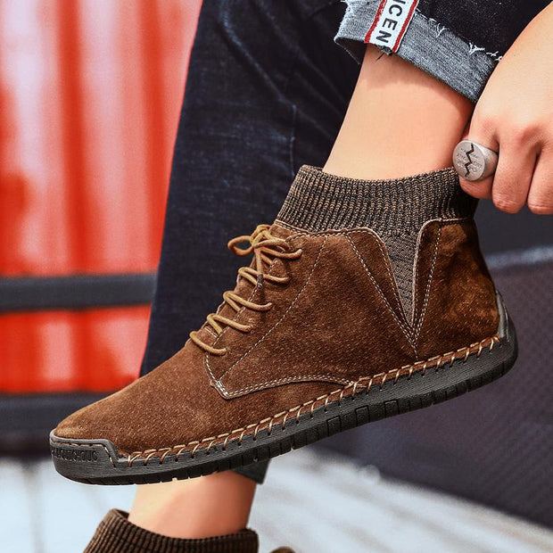 Men Hand Stitching Warm Plush Lining Portable  Ankle Boots