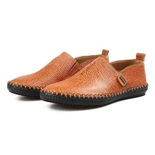 Men's Genuine Leather Breathable Driving Slip-On Flats