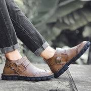 Men Cow Leather Hand Stitching Comfy Soft Lave Up Casaul Ankle Boots