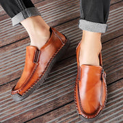 Men Hand Stitching Anti-collision Non Slip Side Zipper Casual Leather Shoes
