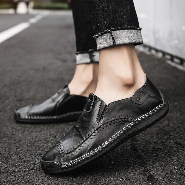 Men's Driving Shoes 2018 Men Genuine Leather Loafers Shoes Fashion Handmade Soft Breathable Moccasins Flats Slipe On Shoes