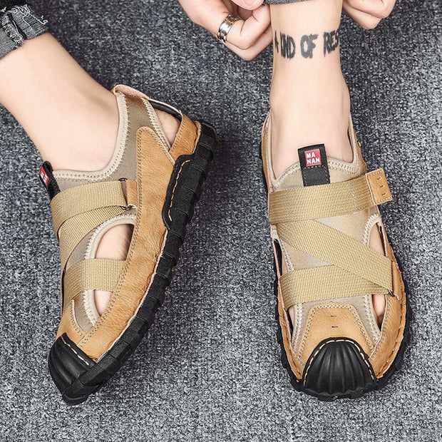 Men's handmade comfortable breathable leather sandals hollow out shoes