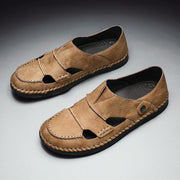 Men's breathable sandals hollow out comfortable handmade  leather shoes