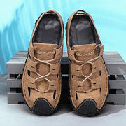 Men's  comfortable casual shoes hollow out handmade leather sandals