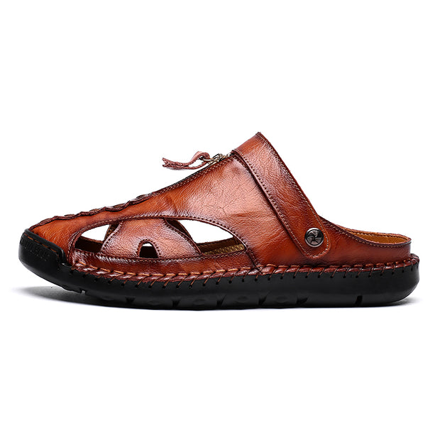 Men's new leather pull slippers sandals fashion big yards of leisure shoes