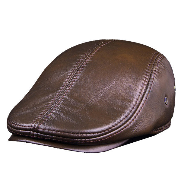 Men Classic Genuine Cowhide With Ear Flaps Beret Hats Casual With Ventilation Holes Flat Caps