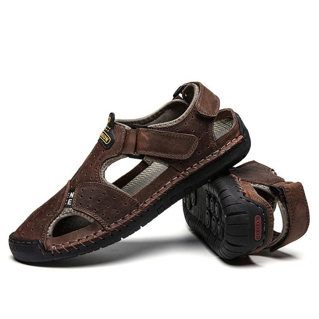 Men's sandals foreign trade large size leather casual men's shoes breathable casual