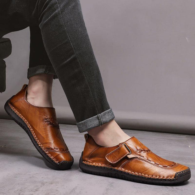 Men Hand Stitching Leather Comfy Soft Hook Loop Casual Shoes