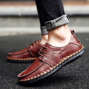 Men's All Seasons British Trend Stylish Handmade Stitching Lace-Up Flats