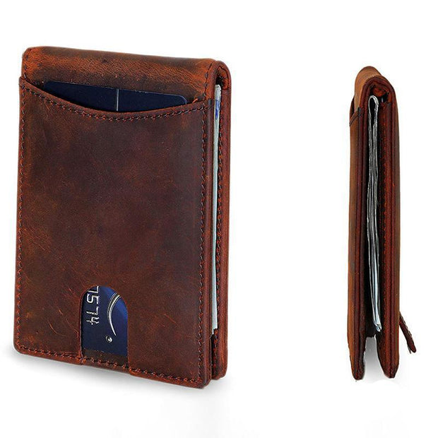 Men's Leather Crazy Horse Pickup Bag Wallet