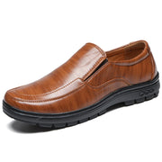 Men Comfy Round Toe Leather Loafers Slip On Soft Sole Casual Shoes