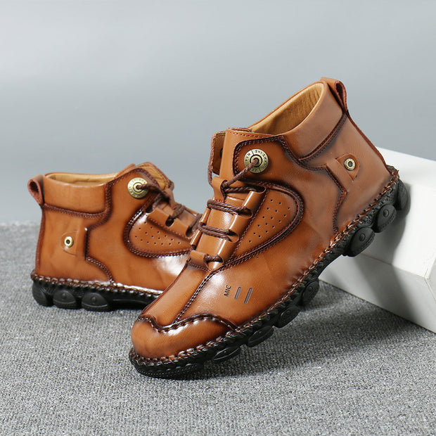 Men Vintage Hand Stitching Non Slip Soft Casual Leather Boots