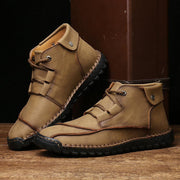 Men Hand Stitching Comfort Soft Lace Up Microfiber Leather Boots