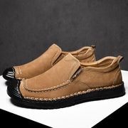 Men Hand Stitching Non Slip Anti-collision Soft Casual Leather Shoes