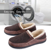 Men's Memory Foam Slippers with Cozy Fleece Lining Closed Back House Slippers with Anti-Skid Rubber Sole