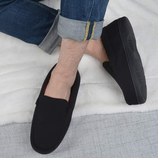 Men's Memory Foam Moccasin Slippers Breathable Moccasin Slippers Micro Wool House Shoes Anti-Slip Sole Indoor Outdoor