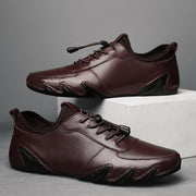 Men Genuine Leather Non Slip Soft Sole Casual Driving Shoes