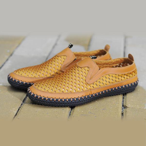Mens Breathable Mesh Sweat Absorption Slip On Oxfords Flats