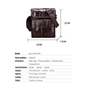 Men's leather shoulder casual sports outdoor first layer leather flat document bag
